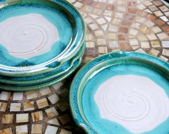 Custom Turquoise and White Round Dinner Plate- Made to Order