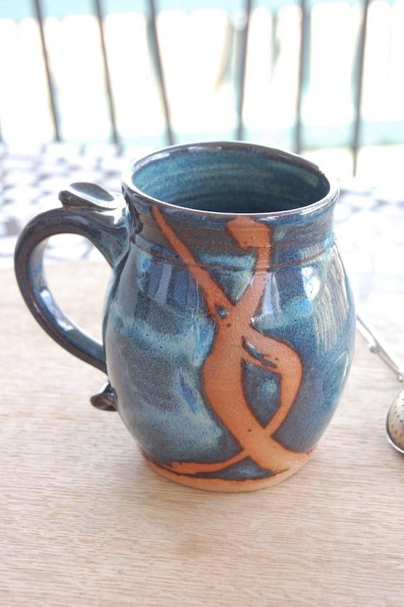 Slate Blue Mug with Rust Chain