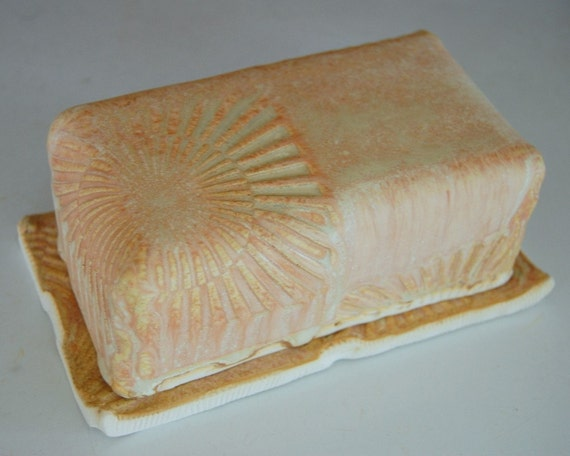 Covered Butter Dish in Sunburst with Sun Texture- Made to Order
