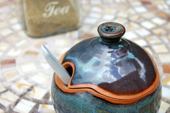 Sugar Bowl / Honey Jar in Slate Blue- Made to Order