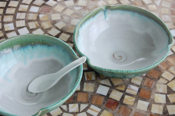 Two Large Soup Bowls in Turquoise and White