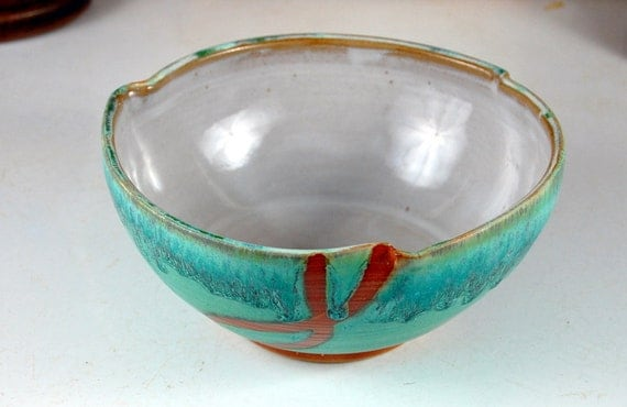 Serving Bowl in Turquoise and Rust - Made to Order