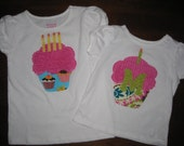 Custom Birthday Cupcake Tank, Tee Shirt or Onesie.... You Choose Fabric and Letter.... Lots of Options for Boys and Girls