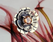 Peach Imperial Topaz Sterling Silver Flower Ring Size 7