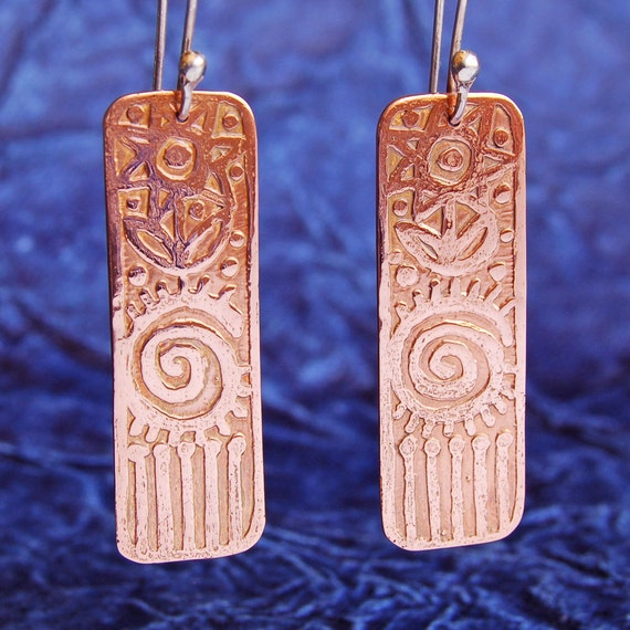 Etched Copper Long Rectangle Earrings