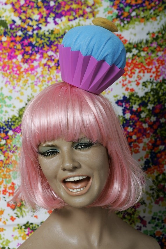 As seen on (Good Day LA) YUM Cupcake Party Hat \/\/ pink hat yellow heart blue frosting