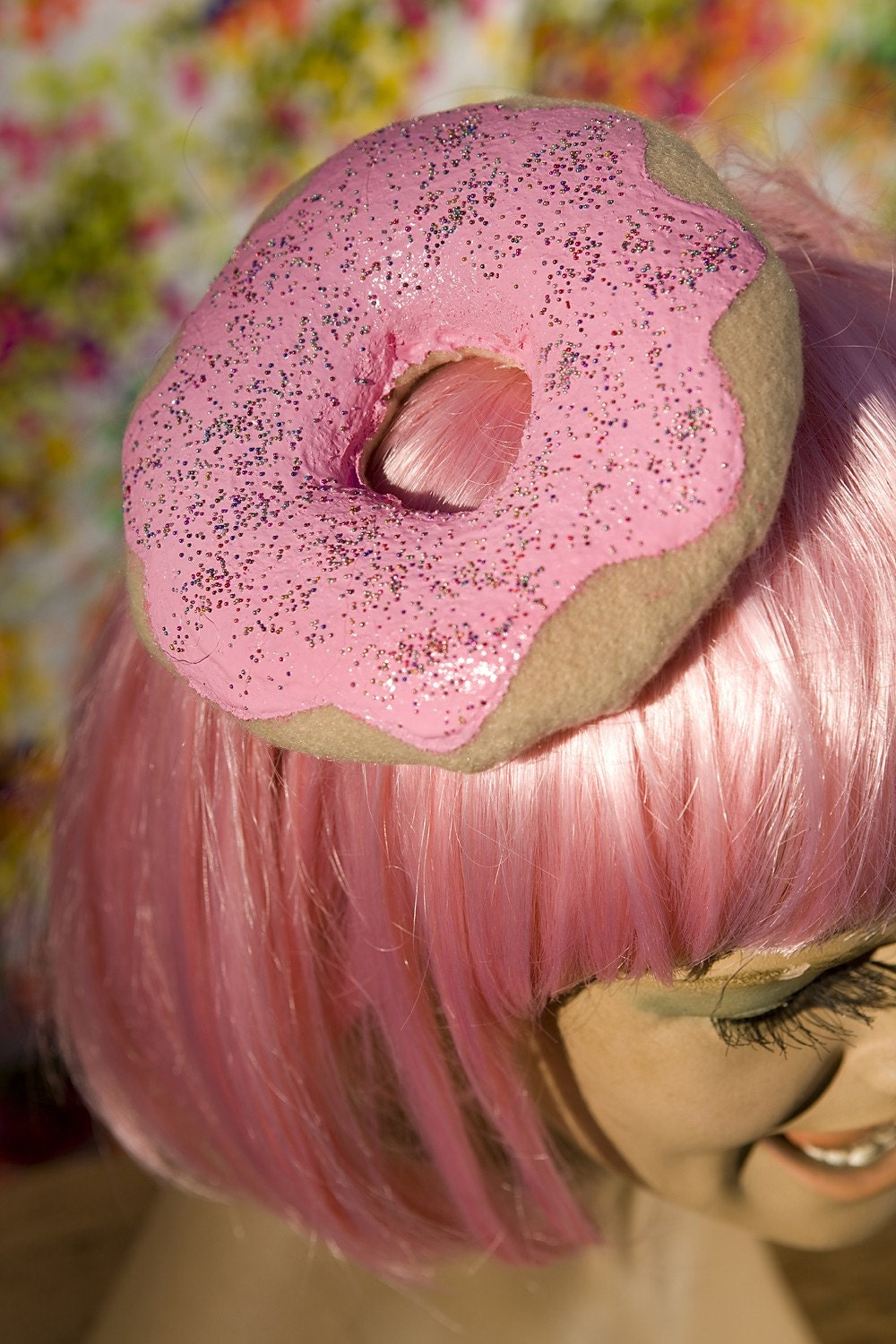 pink donut hat with sprinkles