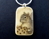 Original scrimshaw squirrel mammoth ivory  cookie little pendant