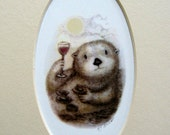 Sea Otter with wine glass sushi clams on the half shell giclee print