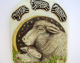 Nursery childrens's art sheep lamb ewe wall  plaque Moosup