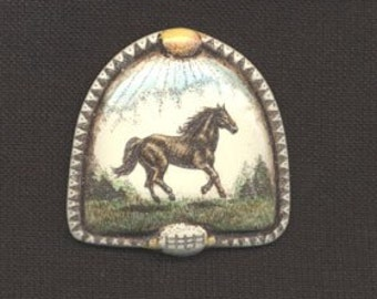Horse scrimshaw technique resin hand colored pin