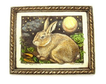 Bunny Rabbit carrot full moon Easter wall plaque