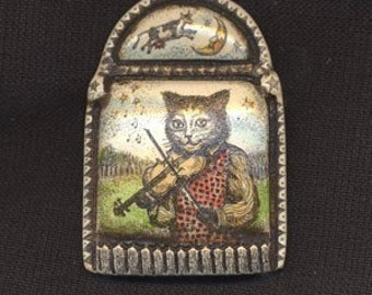 Cat and the Fiddle Cow over the Moon scrimshaw technique Moosup pin