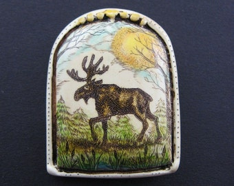 Maine Moose scrimshaw technique hand colored resin pin
