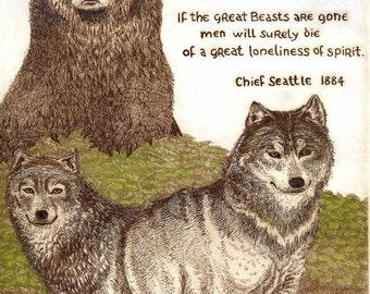 Chief Seatle Native American wisdom giclee print
