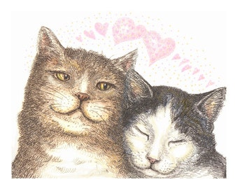 Sweetheart Cats giclee reproduction print