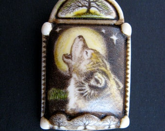 Wolf totem tree moon scrimshaw technique resin brooch pin