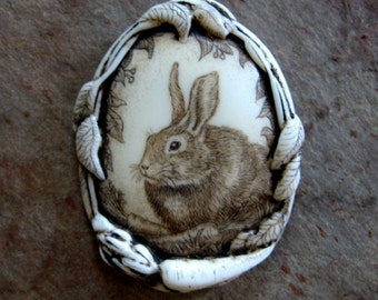 bunny rabbit pin/pendant carrot wildlife scrimshaw technique