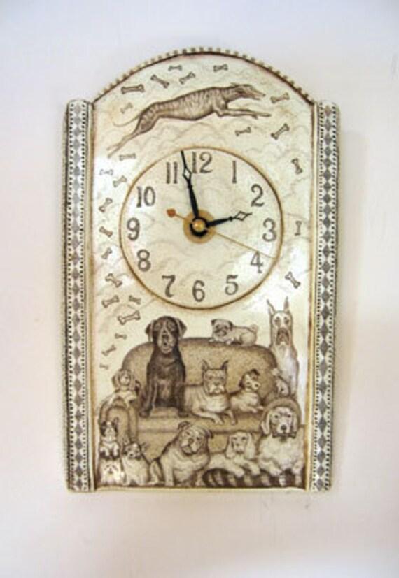 Dog Pug Lab Yorkie bulldog Boston Terrier Corgie greyhound clock