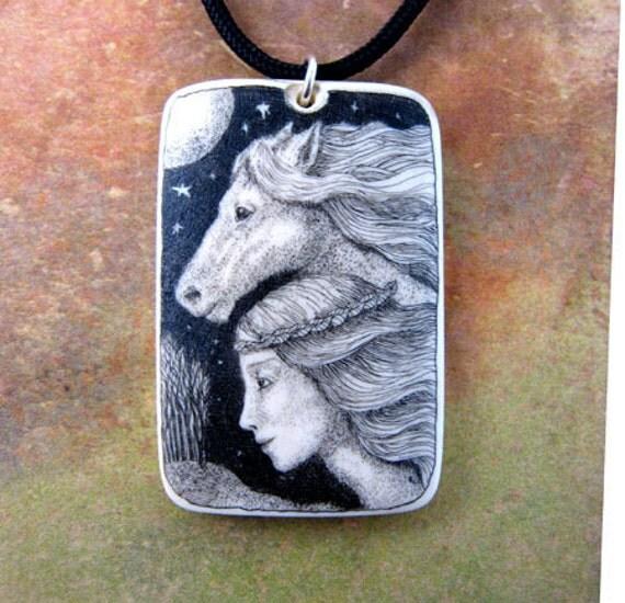 Original scrimshaw horse goddess Epona mammoth ivory pendant