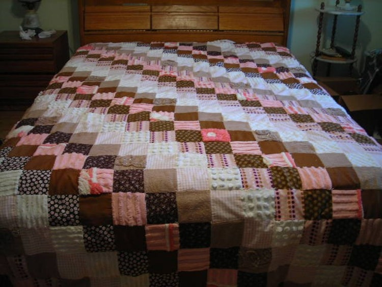 Queen Or King Size Patchwork Pink And Brown Quilt By