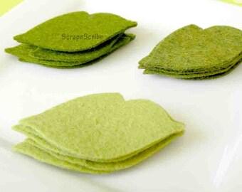 Wool Felt  Leaves Set of 18 in Moss, Zucchini, Fern