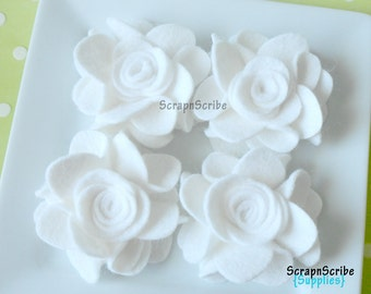 Wool Felt Flower Supply Set of 4 White Wonderland