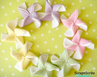 Wool Felt Flower  - Supply Set of 8 Pinwheels
