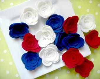 Wool Felt Rose Set of 15 July 4th Patriotic