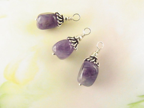 Amethyst Nugget Dangles Charms Pendant Set of 3