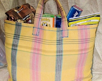 Reusable Shopping or Tote Bag in Rustic Pastels HUGE