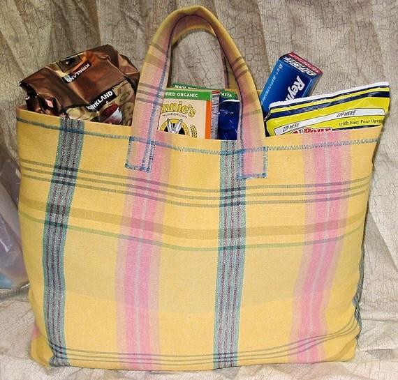 Reusable Shopping or Tote Bag in Rustic Pastels HUGE