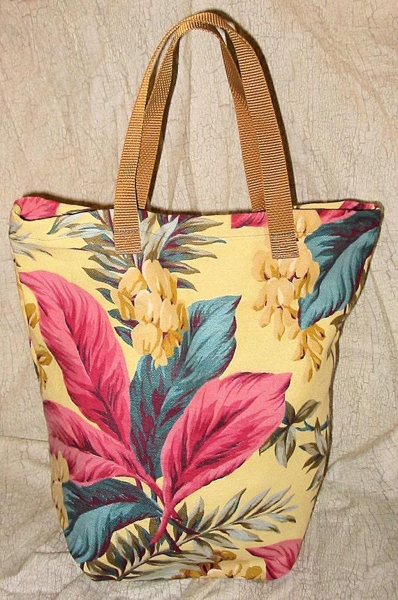 Reusable Shopping Market Bag in Vintage Tropical Barkcloth
