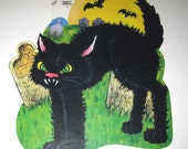 Vintage NOS Black Cat in Graveyard Halloween Die Cut Decoration