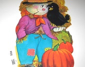 Vintage Scarecrow and Black Crow Halloween Die Cut Decoration