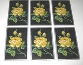 Vintage Playing Cards with Beautiful Yellow Roses Set of 6
