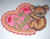 Vintage Large Valentine Die Cut of Cute Little Koala Bear by Beistle