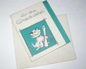 Vintage Miniature Graduation Greeting Card with Cat and Diploma Unused