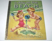A Day at the Beach 1950s Vintage Children's Little Golden Book Illustrated by Corinne Malvern