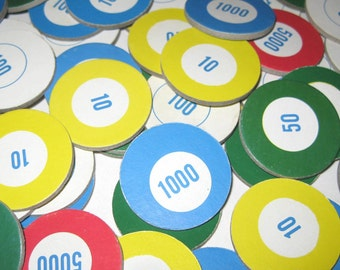 Vintage 1960s Round Cardboard Game Pieces with Numbers Set of 55