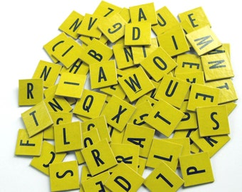Vintage 1950s Yellow Cardboard Scrabble Jr. Tiles or Game Pieces Set of 98
