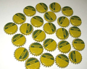 Vintage Yellow and Green Grapefruit Drink Bottle Caps Set of 25