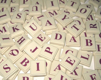 Vintage Upwords Plastic Alphabet Letter Square Tiles Or Game Pieces Ivory with Maroon Letters Set of 98