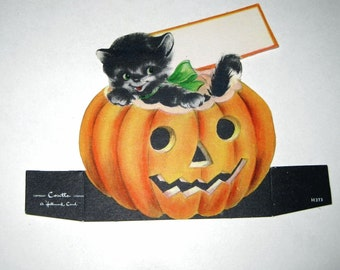 Vintage Halloween Die Cut Place Card with Black Cat and Jack o Lantern by Hallmark