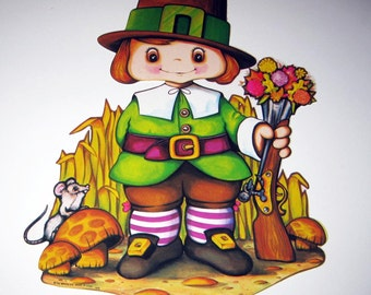 Vintage 1970s Cute Pilgrim Boy Die Cut Cardboard Thanksgiving Decoration by Beistle