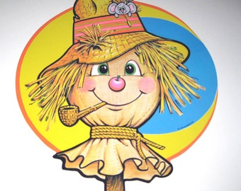 Vintage 1970s Die Cut Halloween Decoration of Scarecrow and Mouse by Beistle