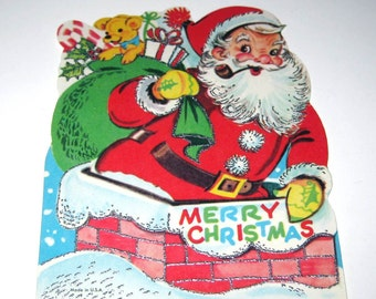 Vintage Christmas Greeting Card with Jolly Santa Claus and Silver Embossing