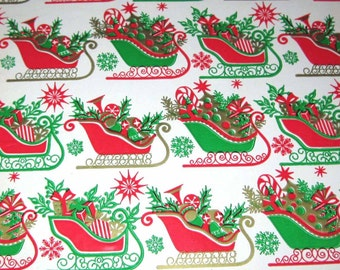 Vintage Christmas Wrapping Paper or Gift Wrap with Red and Gleen Sleighs