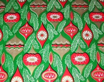 Vintage Green Christmas Wrapping Paper or Gift Wrap with Red and Gold Ornaments