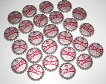 Vintage Bottle Caps Red and Silver Cherry Smash Set of 25